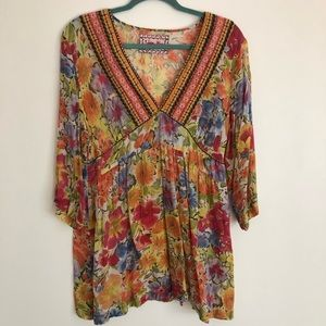 Johnny Was Floral Embroidered Tunic Top